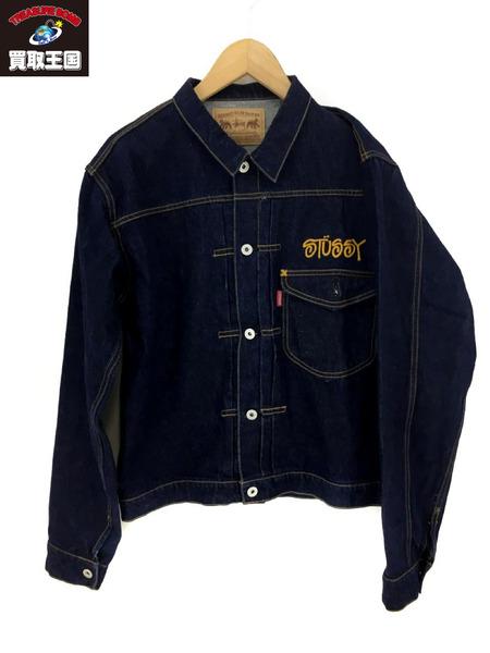 STUSSY 90's チェーンステッチロゴ刺繍 1st 売店 予約 濃紺 中古 Type デニムジャケット
