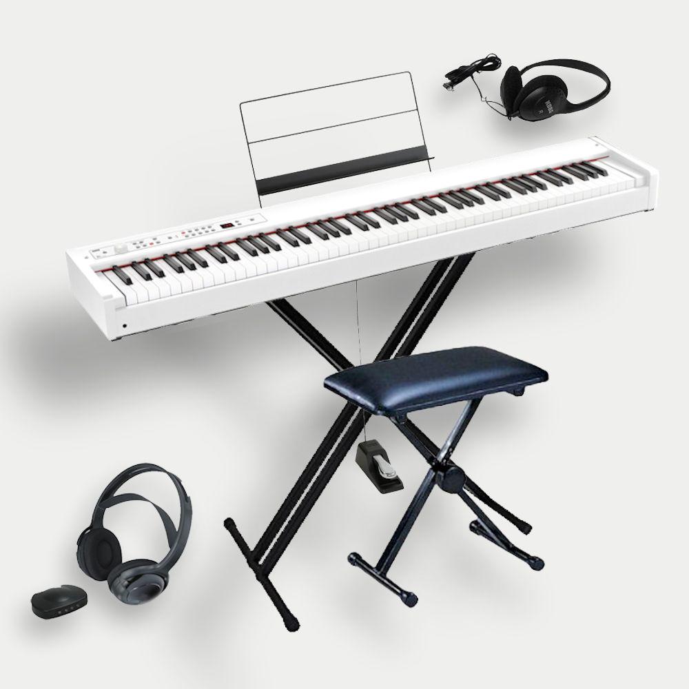 KORG D1 WH コルグ電子ピアノ X型スタンド(W支柱) 純正ソフトケース SC-D1 ヘッドホン付 スピーカーレス ライブセット