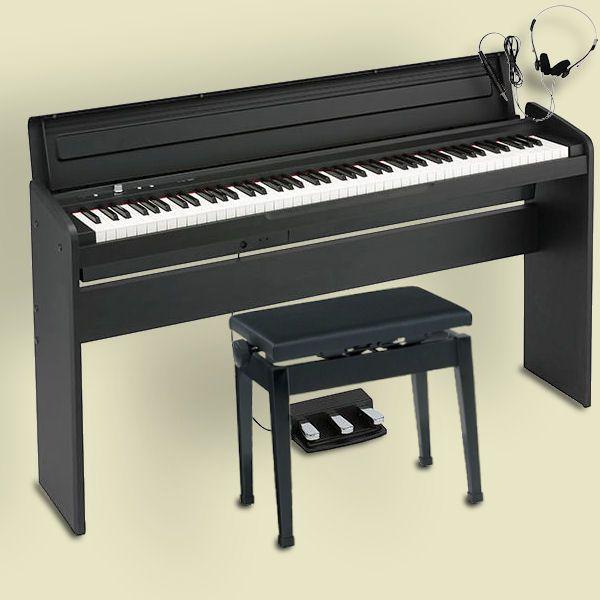 KORG LP-180 BK コルグ 電子ピアノ スタンド 3本ペダルユニット 高低椅子 ヘッドホン付