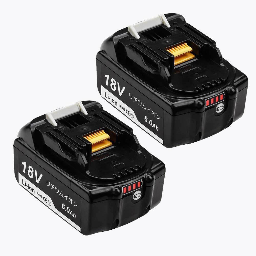 BL1860B 互換 マキタ18vバッテリー 大容量6.0ah マキタ互換バッテリー マキタ充電式用バッテリー BL1860 BL1830 BL1840 BL1850 BL1830b BL1840b BL1850b BL1860b対応 2個セット LED残量表示 電動工具用battery 黒 1年保証
