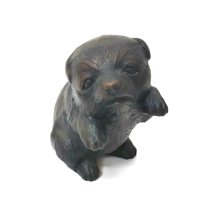インテリア 小物 置物 戌 子犬 動物 干支 伝統工芸品 1点限り 犬 2020A W新作送料無料 中古 日本製 メーカー直売 縁起物 高岡銅器
