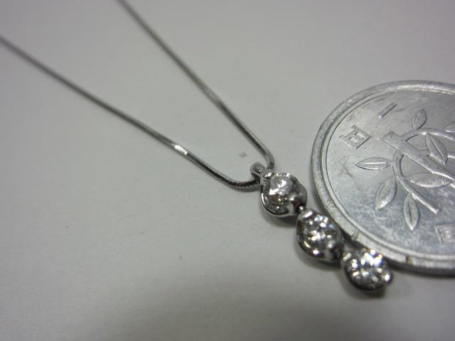 Pt850、ダイヤトップつきネックレス【中古】