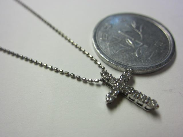 K18WG、ダイヤトップつきネックレス【中古】