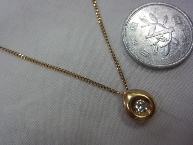 K18、ダイヤつきネックレス【中古】