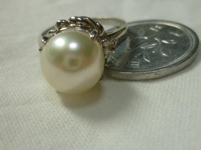 Pt900,本真珠指輪、【中古】#9,5