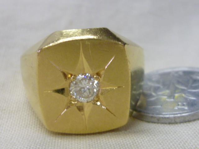 K18,印台ダイヤ入りリング【中古】約22号