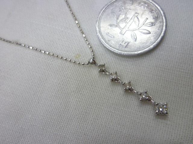 K18WG ダイヤ入りトップつきネックレス【中古】