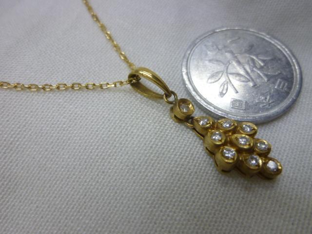 K18、ダイヤ入りトップ付きネックレス【中古】