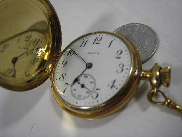 K18,エルジン提げ時計【中古】