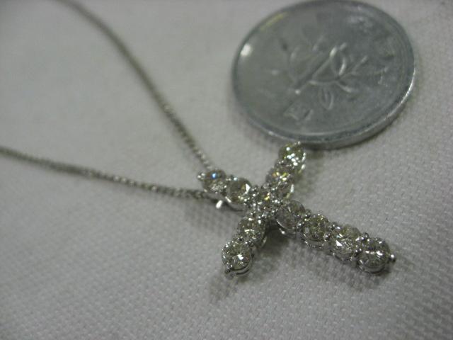 贈与 Pt850ネックレス ダイヤクロストップつき 中古 安心の定価販売