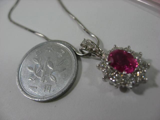Pt900,ピンクサファイヤ入りネックレス【中古】