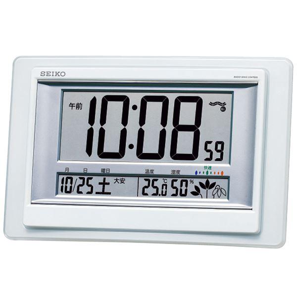 電波時計、フルオートカレンダー、高精度温度・湿度表示、快適度表示、六曜表示、田地切れ予告機能、グリーン購入法適合商品 セイコー 電波掛置兼用時計 SQ432W