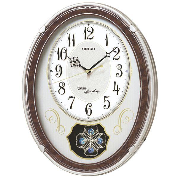 電波時計、毎正時メロディ、音量調節、おやすみ秒針、飾り振り子(スワロフスキー ・クリスタル使用)、 セイコー 電波メロディ掛時計 AM259B