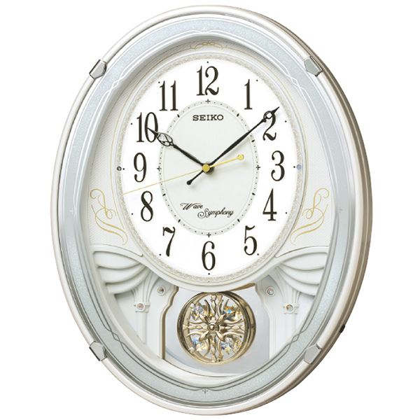 電波時計、正時メロディ(3のグループからセレクトできます)、暗所自動鳴り止め、ステップ秒針(おやすみ秒針機能付き)、音量調節 セイコー 電波メロディ掛時計 AM258W