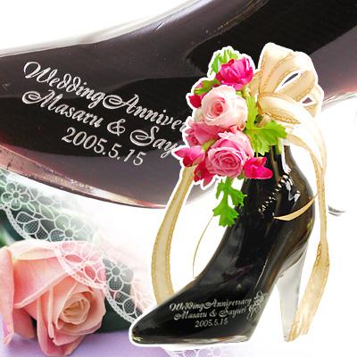 【 名入れ プリザーブド フラワー付 】 シンデレラ シュー カシス 350ml | ガラスの靴 リキュール 大人 かわいい おしゃれ お酒 プレゼント ギフト 名前入り バラ 造花 贈り物 お祝い 女友達 女性 誕生日 結婚祝い 記念品 記念日 ウエディング ラッピング?