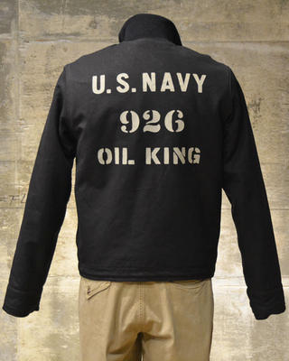 "Freewheelers deck jacket ""USS LST-926 OIL KING"" dry finish duck Navy"