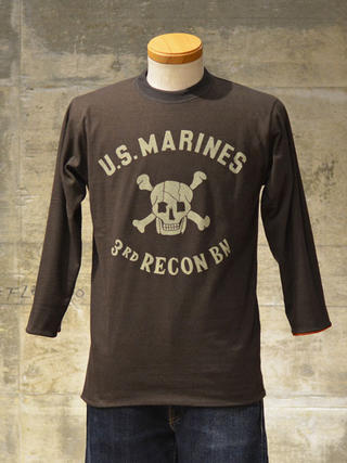"Freewheelers 8-sleeve reversible t-shirt ""USMC 3rd RECON"" dry red x charcoal black"