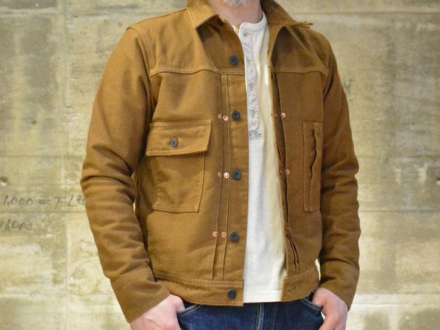 "Freewheelers work jacket ""IRONHEAD"" heavy moleskin yarn dyed bronze"