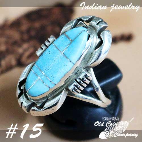 インディアンジュエリー リング #15 シルバー ターコイズ Indian jewelry - Ring Sleeping お得 鉱山 Beauty プレゼント レディース メンズ スリーピングビューティー おすすめ 大規模セール ギフト