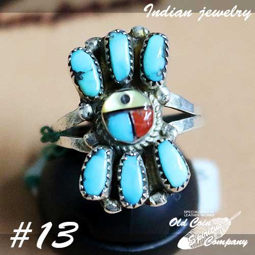 インディアンジュエリー リング #13 シルバー ターコイズ Indian jewelry メンズ おすすめ レディース ギフト プレゼント 新作 人気 Ring - 日本産