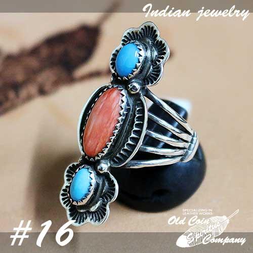 インディアンジュエリー リング #16 シルバー ターコイズ Indian jewelry - Ring - Sleeping Beauty and Spiny Oyster Shell スリーピングビューティー 鉱山 メンズ レディース ギフト プレゼント おすすめ