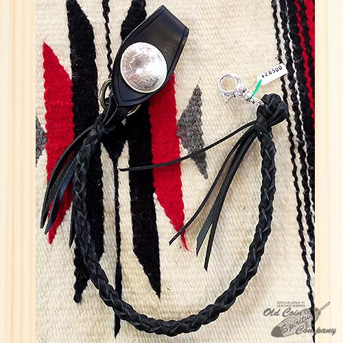 サドルレザー ウォレット アクセサリー ロングウォレット バイカーズウォレット ストラップ ウォレットストラップ 4本丸編み ベルトループ&ウォレットロープ Belt loop & Wallet rope - メンズ 財布 長財布 黒 レザー 革 手作り ハンドメイド 当店オリジナル