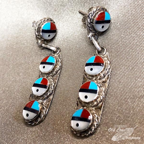 インディアンジュエリー ズニ族 最安値挑戦 インレイサンフェイス ピアス シルバー ターコイズ Indian jewelry - 鉱山 スリーピングビューティー メンズ earring おすすめ pierce レディース プレゼント ギフト 好評受付中