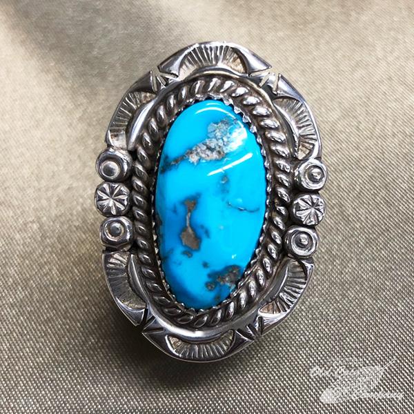 NEW インディアンジュエリー ナバホ族 リング #9 シルバー ターコイズ Indian jewelry - レディース おすすめ プレゼント キングマン Ring メンズ 商舗 ギフト 鉱山
