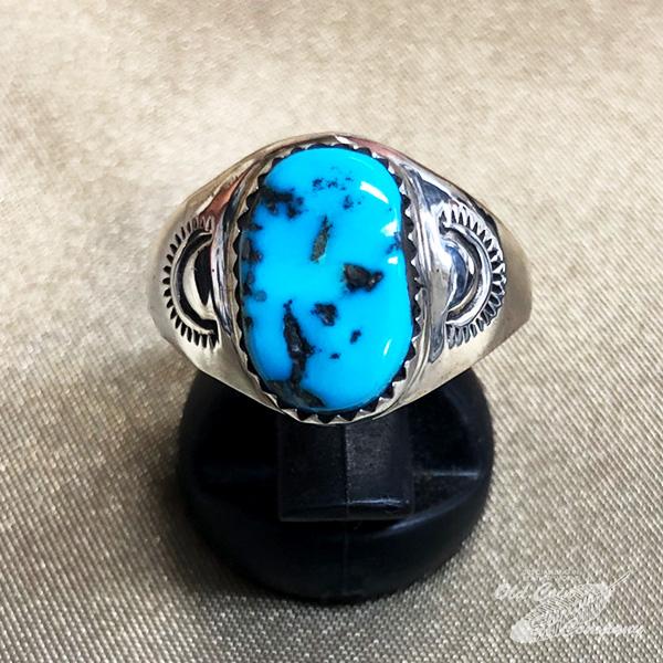 インディアンジュエリー 正規激安 ナバホ族 リング #26 シルバー ターコイズ Indian jewelry - メンズ ギフト おすすめ プレゼント レディース キングマン 激安 鉱山 Ring