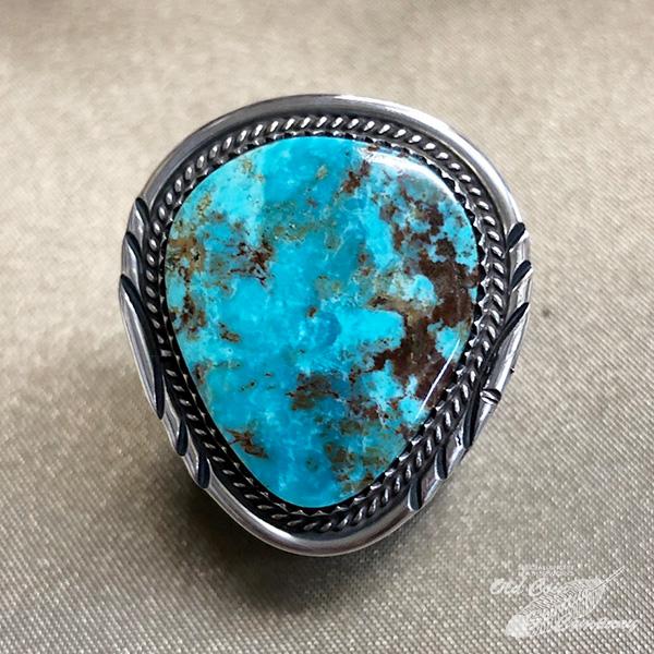 インディアンジュエリー ナバホ族 リング #13 シルバー アウトレット 特別セール品 ターコイズ Indian jewelry - メンズ Ring プレゼント おすすめ ギフト レディース ストーミーマウンテン 鉱山