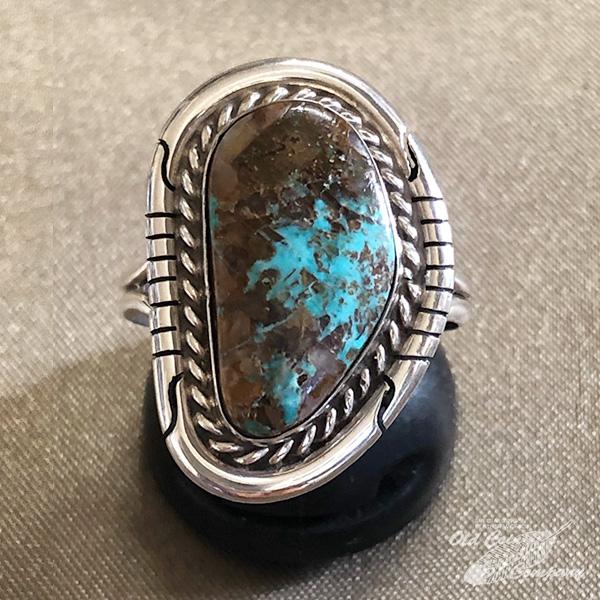 インディアンジュエリー ナバホ族 リング #20 シルバー ターコイズ Indian jewelry - レディース キングマン ギフト 鉱山 Ring メンズ おすすめ 限定モデル プレゼント 好評受付中