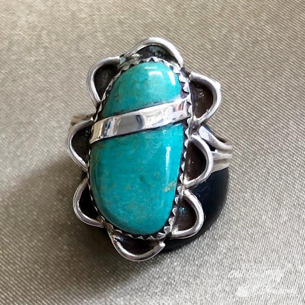 インディアンジュエリー ナバホ族 リング #18 シルバー 大特価!! ターコイズ Indian jewelry - Ring レディース メンズ おすすめ 鉱山 限定品 ギフト プレゼント ネバダグリーン
