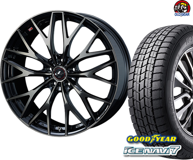 グッドイヤー アイスナビ7 185/60R15 スタッドレス タイヤ・ホイール 新品 4本セット ウエッズ レオニス MX パーツ バランス調整済み!
