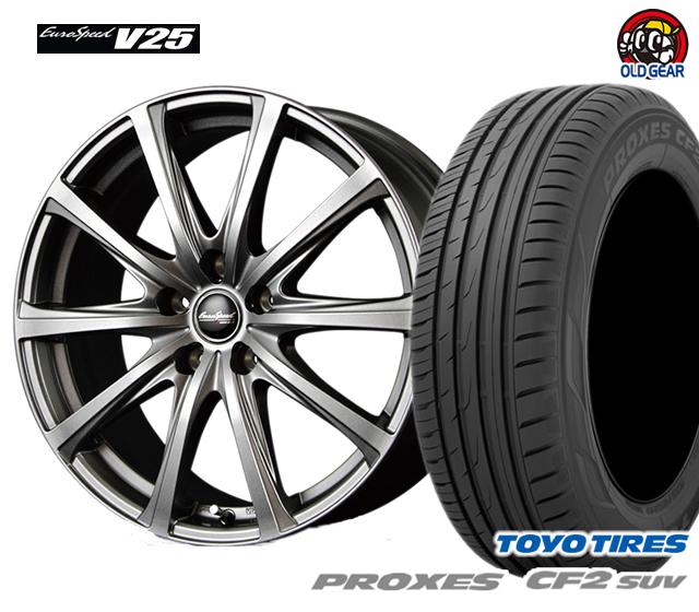 マルカ ユーロスピードV25 タイヤ・ホイール 新品 4本セット トーヨー プロクセスCF2 SUV 225/50R18 パーツ バランス調整済み!