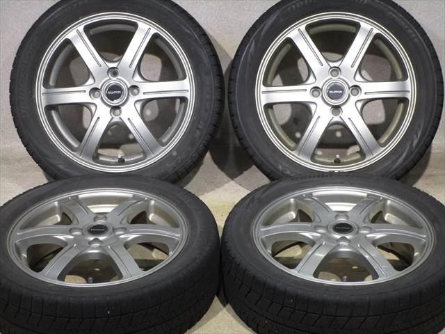 中古ホイールタイヤ 4本セット 165/55R15社外 バルミナ 15x4.5J+48 4H100 中古 スタッドレス タイヤ ブリヂストン ブリザック VRX2