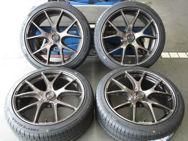 中古 ホイールタイヤ 4本セット 225/40R19 社外 レイズ ヴェルサス ストラテジーア グラーディオ 19x8J+48 5H112 中古 ラジアル タイヤ 特選輸入タイヤ