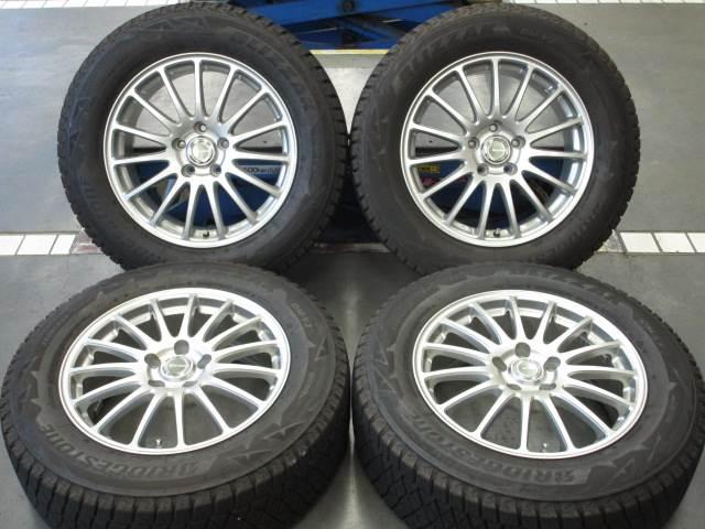 中古ホイールタイヤ 4本セット 225/65R17社外 エコフォルム 17x7J+38 5H114.3 中古 スタッドレス タイヤ トーヨー ウインタートランパス TX