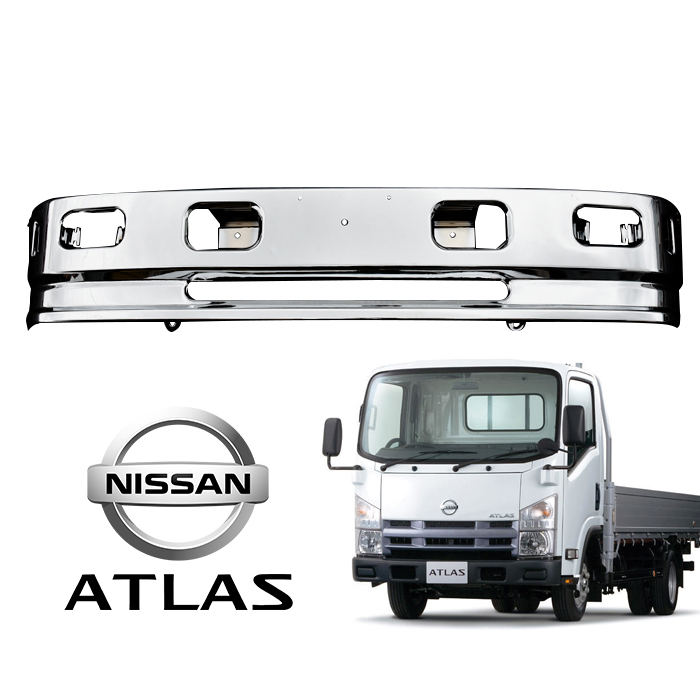 汎用 2トン いすゞ エルフ 日産アトラス ハイキャブ車 メッキ バンパー エアダム 一体 スポイラー