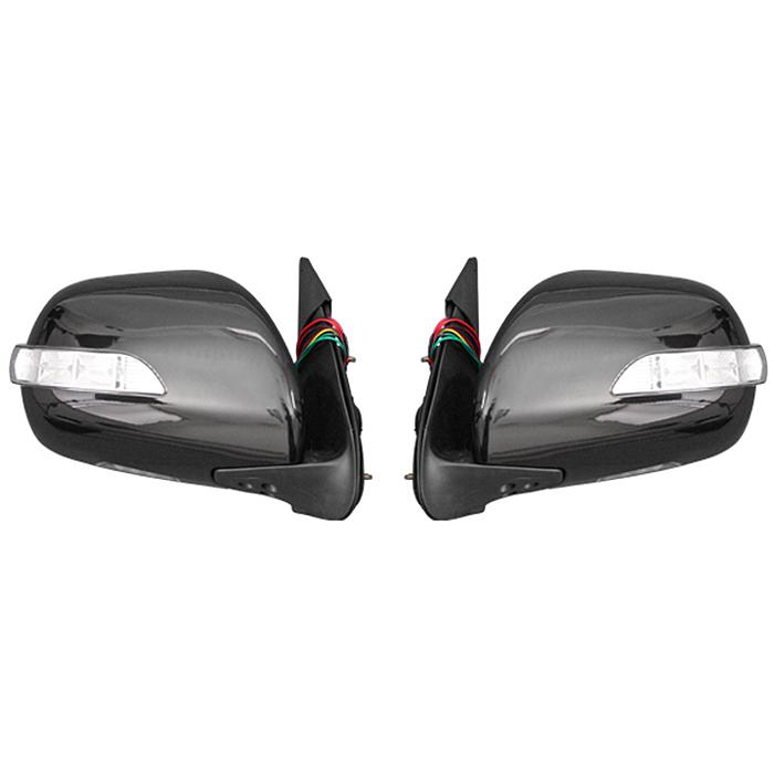 200系 ハイエース LEDウィンカー ウェルカムランプ付き 電格式 209ブラック 塗装品 ドアミラー Ver,1 左右セット