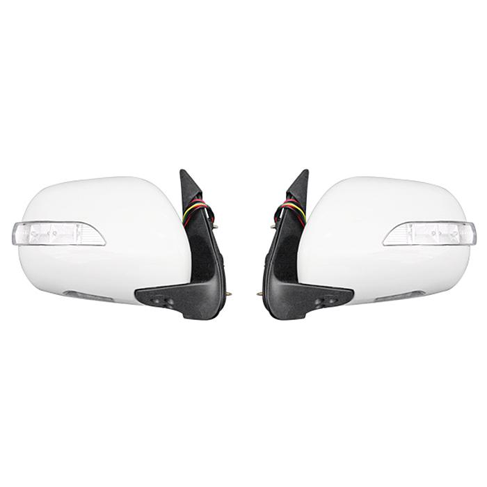 200系 ハイエース LEDウィンカー ウェルカムランプ付き 電格式 058ホワイト 塗装品 ドアミラー Ver,1 左右セット