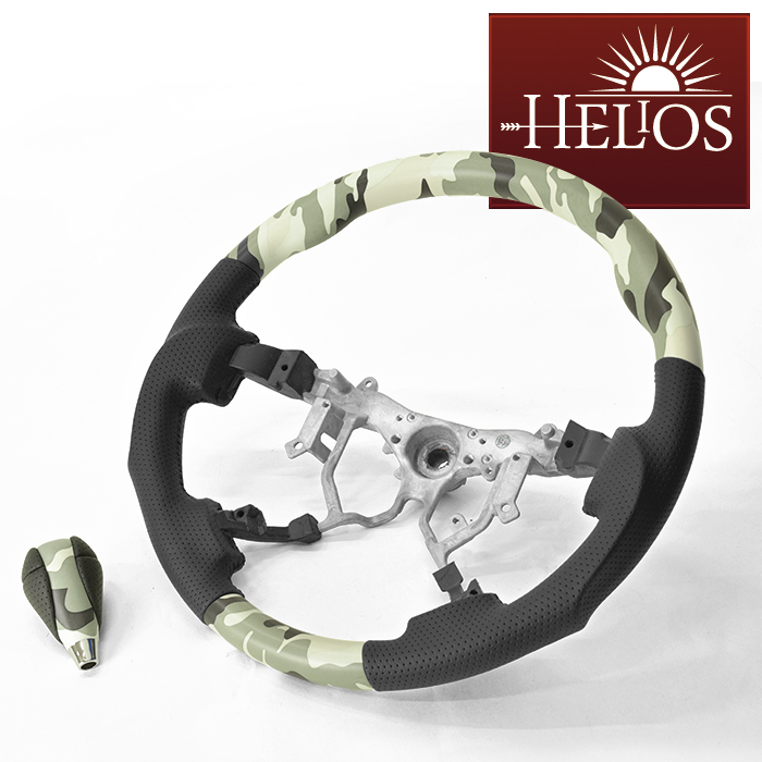 HELIOS 200系 ハイエース 緑黒迷彩 ガングリップ ステアリング & シフトノブ グリーン カモフラージュ