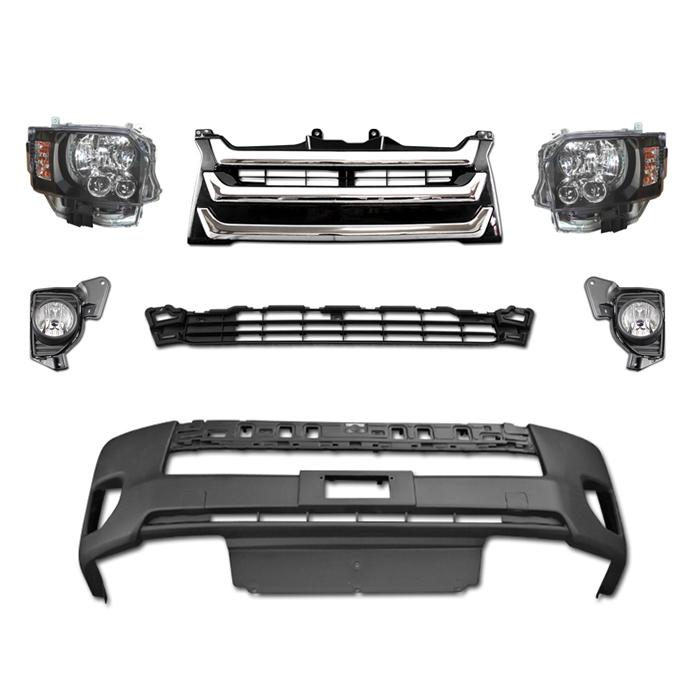 200系 ハイエース 4型 LEDヘッド フロント 7点 セット Ver,4  インナーブラック ヘッドライト オプションタイプグリル