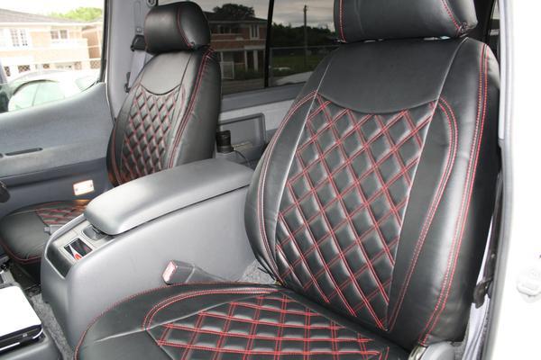 100系 ハイエース バン S-GL ダイヤカット シートカバー ステッチ 運転席 助手席 後部座席セット