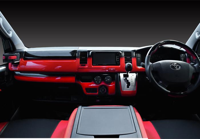 200系 ハイエース 4型 5型 DX 標準 3D インテリアパネル レッドxブラック 15Pセット
