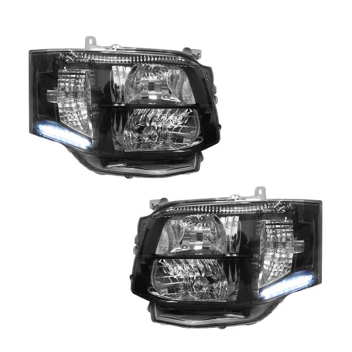 200系 ハイエース 3型 LED付き インナー ブラック キセノン ヘッドライト Ver,8W 【処分品】