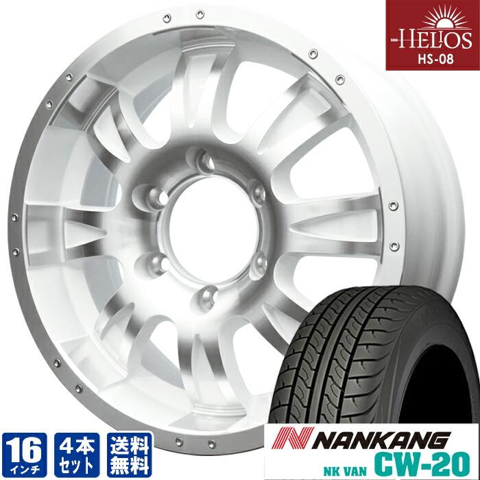 HELIOS HS-08ポリッシュ×ホワイト16inch 6.5J6穴139mm +35NANKANG CW-20215/65R16 109/107 ホイールタイヤセット