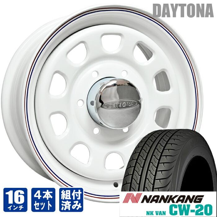 デイトナ 16インチ ホワイト レッド&ブルー ライン ナンカン CW-20 215/65R16 200系 ハイエース 4本セット