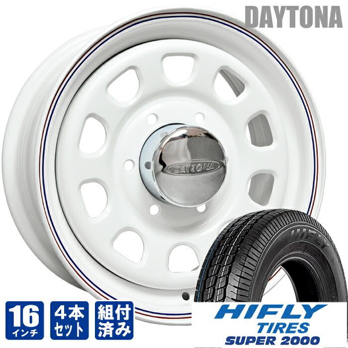 デイトナ 16インチ ホワイト レッド&ブルー ライン ハイフライ SUPER2000 215/65R16C 200系 ハイエース 4本セット