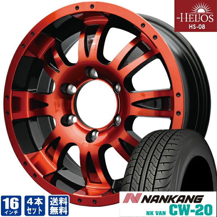 HELIOS HS-08レッド×ブラック16inch 6.5J6穴139mm +35NANKANG CW-20215/65R16 109/107 ホイールタイヤセット