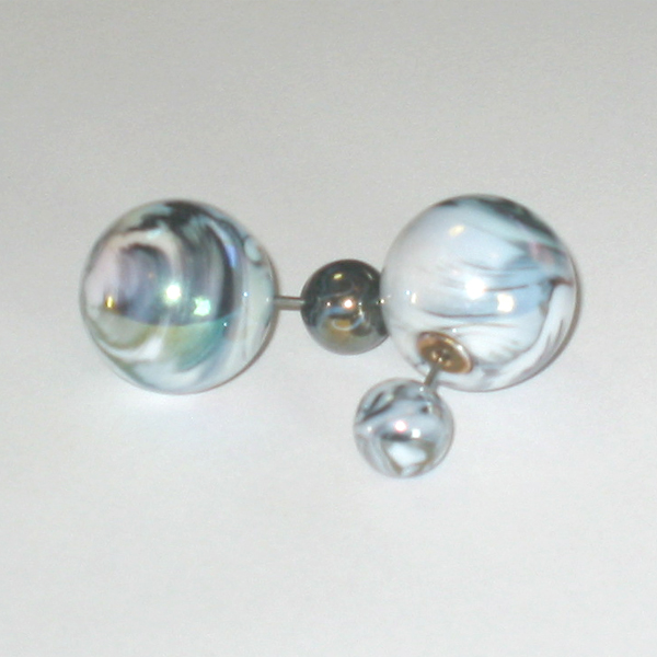 With Pearl Earrings Back 2 Perlmocief 2way Piercing White Mo Like Tribal Ball Catcher No Pull Shipping